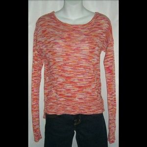 C&C California Striped Boho Sweater Orange Pink S